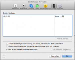 iOS Backup: Reiter Geräte in iTunes